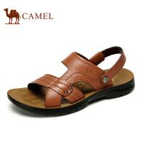 camel骆驼男鞋 夏新款头层牛皮日常休闲两穿男式凉鞋