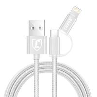 【包邮】洛倍尔/LUOBR 2合一 USB数据线/苹果数据线/充电线 2合1数据线 苹果安卓二合一数据线 安卓线 手机线_银色