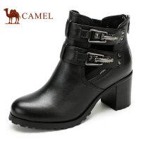 Camel骆驼女靴  新款英伦牛皮后拉链女式短靴 粗高跟女靴子
