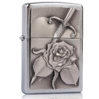 芝宝(Zippo)打火机 欧版贴章/镀铬拉丝 2.004.311(256455) 心与玫瑰