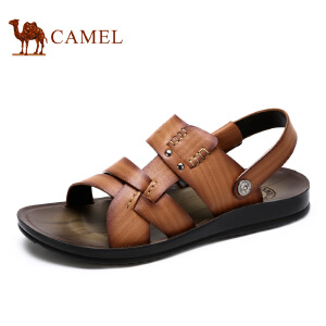 camel骆驼男鞋日常休闲夏季 头层牛皮凉拖鞋男鞋