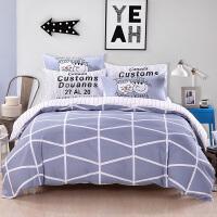 【领券立减50元】卡贝丽莎Cape Lisa四件套纯棉印花四件套 床上用品 床单被罩枕套 卡通格子条纹 自由轨迹