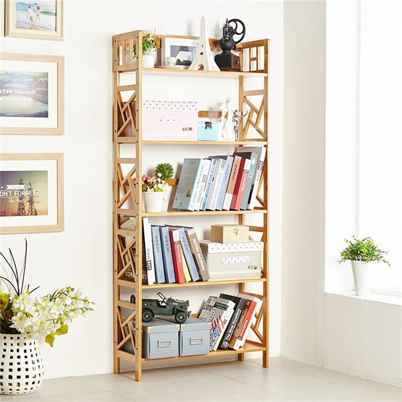 楠竹书架书柜欧式置物架复古实木创意收纳
