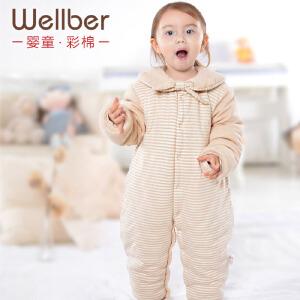 威尔贝鲁 彩棉婴儿童棉袄哈衣 宝宝连体衣 爬服海军风秋冬款厚款