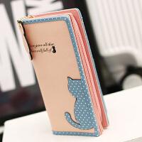 长款钱包女式糖果色可爱韩国小清新日韩女士半边猫钱包长款MW-M0835