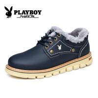 花花公子棉鞋男鞋冬季加绒保暖休闲皮鞋男士板鞋英伦工装鞋低帮户外鞋子征CX39100M