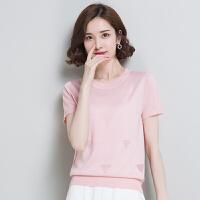 时尚韩版T恤衫宽松套头圆领女新款修身百搭纯色针织衫潮  可礼品卡支付