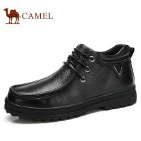 camel骆驼 冬季新款牛皮绒毛短靴男 保暖商务休闲皮靴潮男靴 82203635