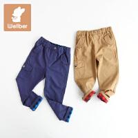 威尔贝鲁 男童裤子 儿童冬季加绒长裤 宝宝休闲裤秋冬厚款1-3岁