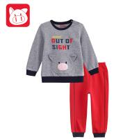 专柜同款 小猪班纳童装男童长袖纯棉套装2017秋装新款男宝宝休闲运动套装