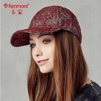 kenmont冬款女士帽子 秋冬季韩版时尚鸭舌帽 女潮帽印花棒球2285