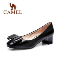 camel骆驼女鞋 优雅通勤 羊皮圆头蝴蝶结中跟单鞋 2016新款单鞋
