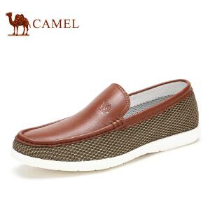 camel骆驼男鞋春季新款  头层牛皮网布乐福鞋休闲男鞋