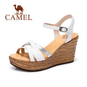 Camel/骆驼女鞋 时尚休闲 小牛皮通勤平时搭扣 高跟坡跟新款