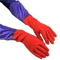 加长接袖双层内毛绒保暖防水手套 橡胶手套