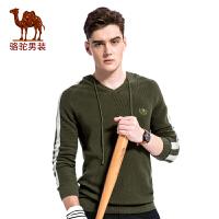 骆驼男装 2017秋季新款V领带帽男士毛衣套头休闲男上衣