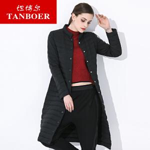 坦博尔2017新款轻薄羽绒服女红色中长款立领修身显瘦羽绒服TB3792