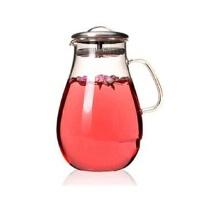 楼龙 超大容量耐热玻璃壶 不锈钢盖花茶壶 水滴壶 凉水杯 CF-105      1206