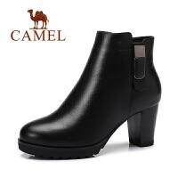 Camel/骆驼女鞋   简约高跟短靴防水台冬靴女