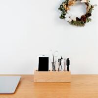 【一0八】创意实木质办公桌面收纳盒笔筒手机座 创木工房