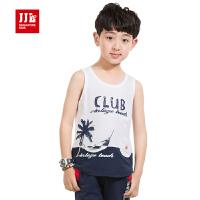 季季乐 夏装童装儿童背心男童背心男大童纯棉时尚无袖T恤BXB53059
