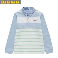 巴拉巴拉balabala童装男童条纹撞色长袖T恤春装上新