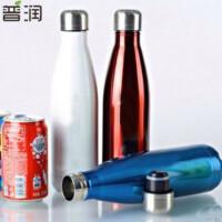 普润 500ML创意水杯 不锈钢杯子保温杯 可乐瓶双层真空保温瓶 蓝色 PRB04