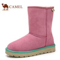 camel 骆驼 雪地靴中筒保暖绒里女靴 平跟套筒韩版潮流冬季新品