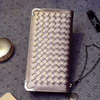 铁边编织钱包女士长款单拉手拿包钱夹拉链零钱包PU小编织钱包  CY-833