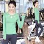 菩�q 瑜伽服套装 女速干健身服 韩版跳操服 跑步服 运动服 显瘦瑜珈服 愈加服 含胸垫