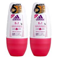 阿迪达斯(Adidas) 女士走珠香水香体止汗露液滚珠50ml 两支装六合一多效 8981