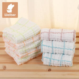 威尔贝鲁 婴儿纱布口水巾 宝宝毛巾小方巾喂奶巾手帕纯棉6层3条装