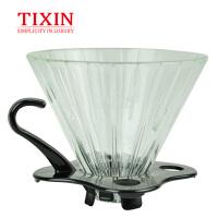 TIXIN/梯信 V02玻璃滤杯 手冲咖啡粉过滤杯家用滴漏式冲泡咖啡杯 T35221黑色