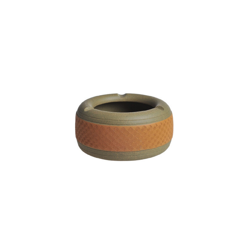 陶瓷故事 精品紫砂回纹烟灰缸 手工制作原矿底槽青雕塑摆件烟灰缸
