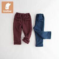 威尔贝鲁 女童裤子 儿童冬季加绒长裤 宝宝休闲裤秋冬厚款1-3岁