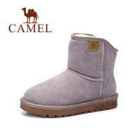 camel骆驼女鞋  韩版简约休闲保暖舒适雪地靴反绒 短靴