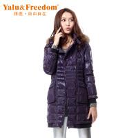 雅鹿自由自在秋冬女士女款羽绒服 貉子毛条中长款女款羽绒服外套F119320