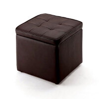 【品牌直供】日本SANWA 150-SNCBOX1BR PU皮革大号方形收纳凳换鞋凳储物凳搁脚凳沙发凳梳妆凳 多色包邮