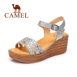 骆驼坡跟凉鞋 新款夏季女鞋 百搭罗马露趾防水台高跟凉鞋女