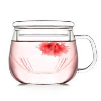 自由城 创意园趣花茶玻璃杯 耐热茶杯 水杯  1506