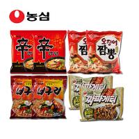 韩国进口食品 农心 辛拉面经典组合 8袋装 香菇 小浣熊 鱿鱼 炸酱面口味