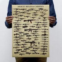 世界名枪大全 怀旧复古 军迷 牛皮纸海报 装饰画芯51*35.5cm