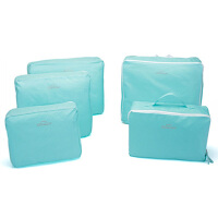 卡秀 韩版旅行包中包整理包/收纳袋-蓝色(五件套)