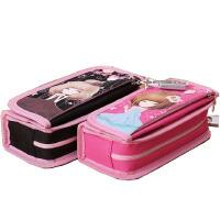 笔袋 可爱简约学生笔袋 花花姑娘大容量女孩文具袋 带锁创意铅笔盒