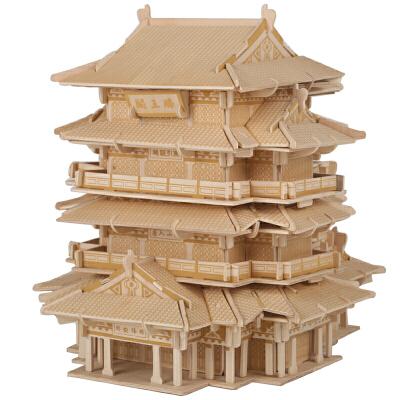 儿童益智玩具立体拼插 木质木制3d立体拼图古建筑滕王阁 积木拼装拼插