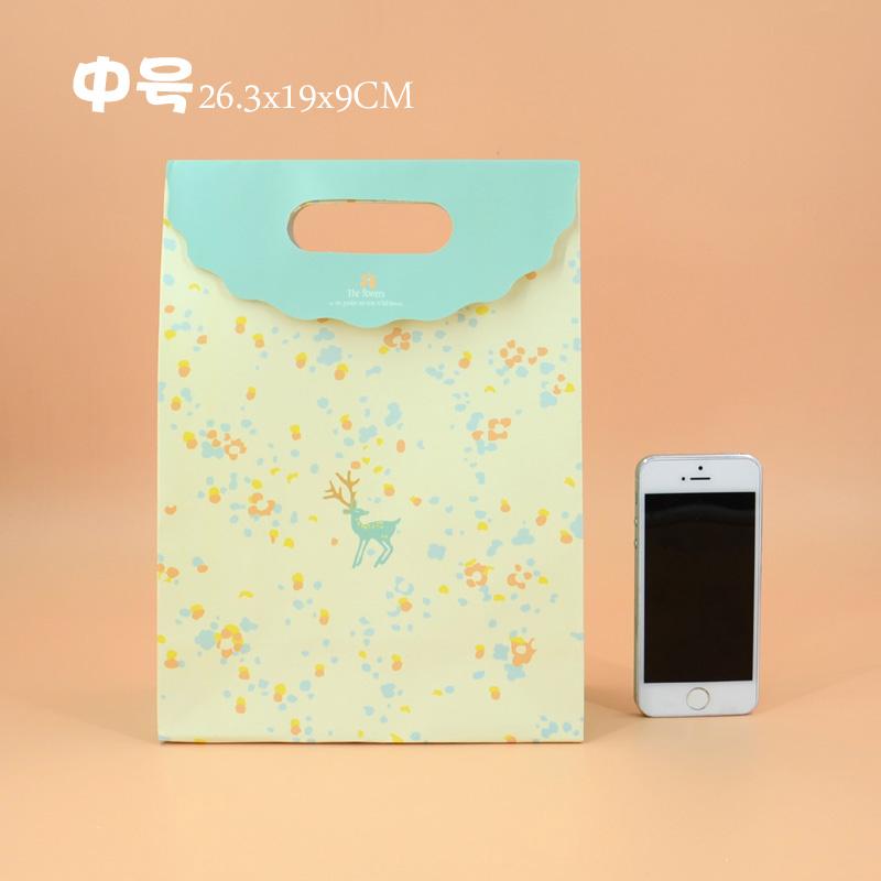 小清新动物文件袋 礼品袋手提袋 礼物袋 可爱纸袋 包装袋_中号-浅黄色