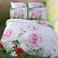 梵巢家纺 纯棉印花三D油画四件套 全棉双人床3d被套床单立体床上用品