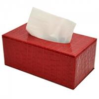 开馨宝 长方形纸巾盒 欧式时尚创意居家办公室用抽纸盒 车用纸巾抽 红色鳄鱼纹 W9202