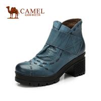 Camel骆驼短靴 新款舒适圆头粗高跟魔术贴打蜡羊皮女靴