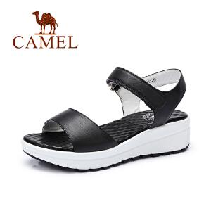 Camel/骆驼夏季女鞋 新款百搭厚底松糕凉鞋 休闲中跟坡跟凉鞋女